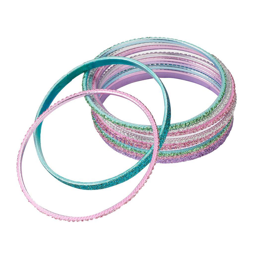 Girls 4-16 12-pk. Glitter Bangle Bracelets