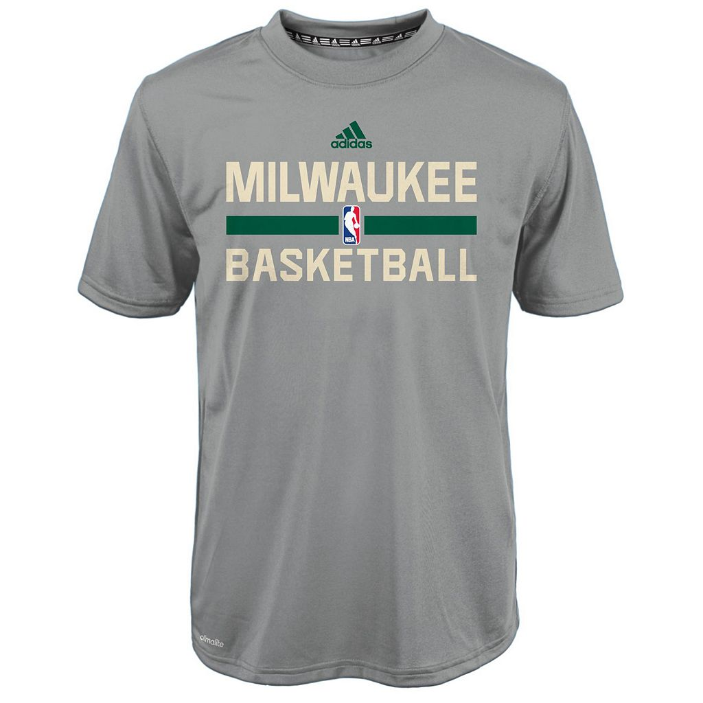 Boys 4-7 adidas Milwaukee Bucks Heathered Practice climalite Tee