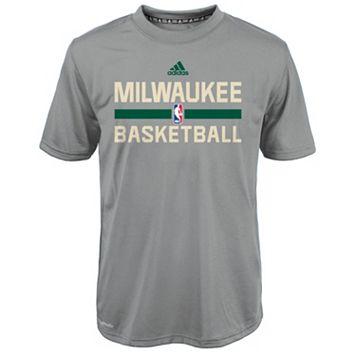 Boys 4-7 adidas Milwaukee Bucks Heathered Practice climalite Tee