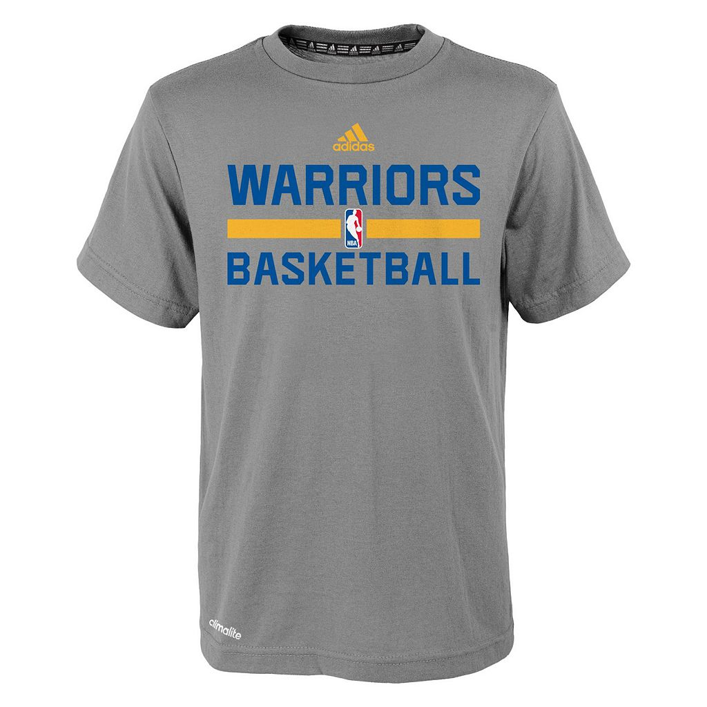 Boys 4-7 adidas Golden State Warriors Heathered Practice climalite Tee