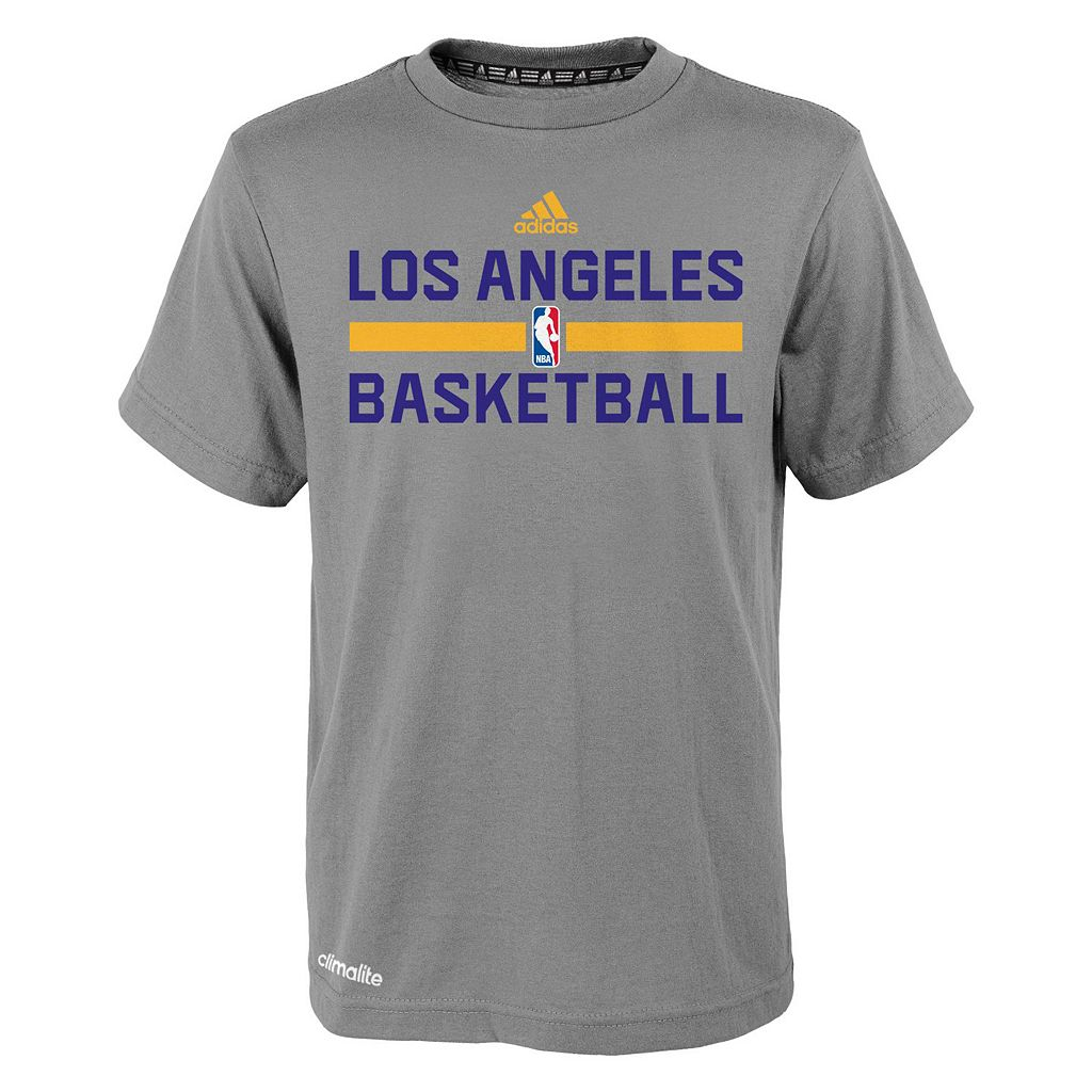 Boys 4-7 adidas Los Angeles Lakers Heathered Practice climalite Tee