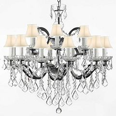 Baroque Wrought Iron and Crystal 18-Light Chandelier