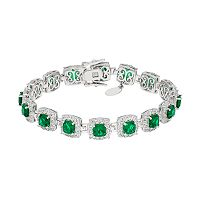 Sterling Silver Simulated Emerald & Lab-Created White Sapphire Halo Bracelet