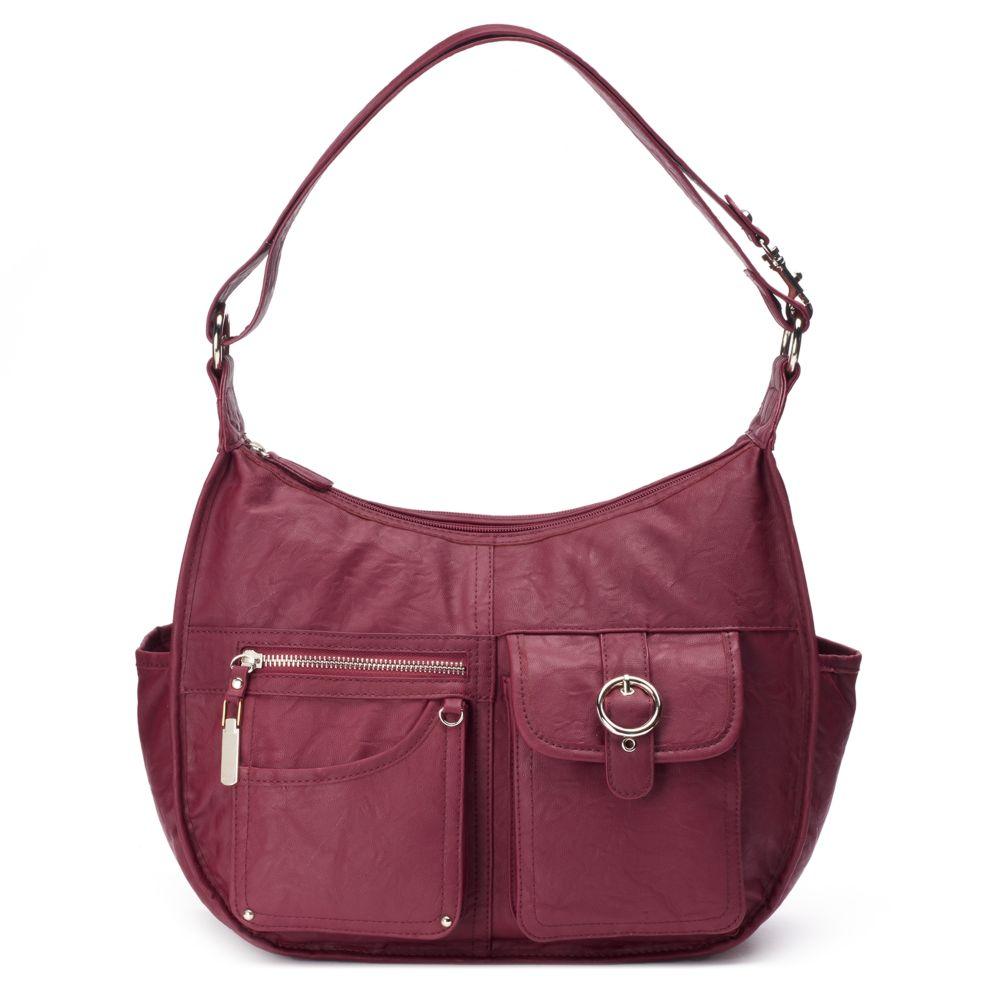 Riveting Seams Convertible Hobo Bag
