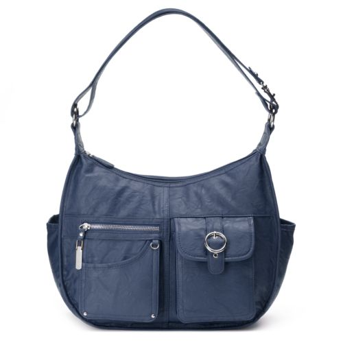 Riveting Seams Convertible Hobo Bag