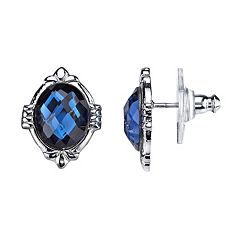 1928 Blue Faceted Oval Stud Earrings