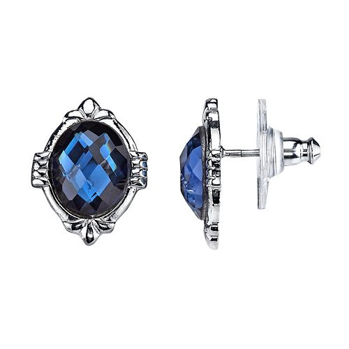 1928 Blue Faceted Oval Stud Earrings