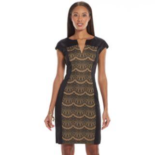 Connected Apparel Lace Scuba Sheath Dress - Women's