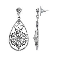 1928 Simulated Crystal Filigree Flower Teardrop Earrings