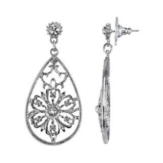 1928 Simulated Crystal Filigree Flower Teardrop Earrings