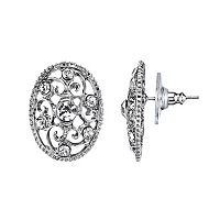 1928 Simulated Crystal Filigree Oval Stud Earrings