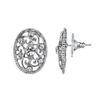 1928 Simulated Crystal Filigree Oval Stud Earrings