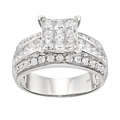 Diamond Square Engagement Ring in 10k White Gold (1 1\/2 Carat T.W.) by