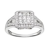 Diamond Square Halo Engagement Ring in 10k White Gold (3/4 Carat T.W.)