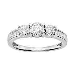 Diamond 3-Stone Engagement Ring in 10k White Gold (1/2 Carat T.W.)