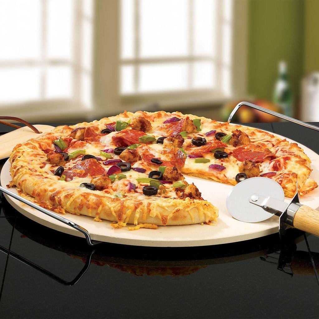 Bialetti 4-pc. Pizza Stone & Pizza Wheel Set