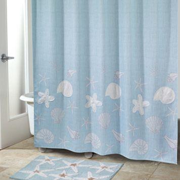 Sequin Shells Fabric Shower Curtain