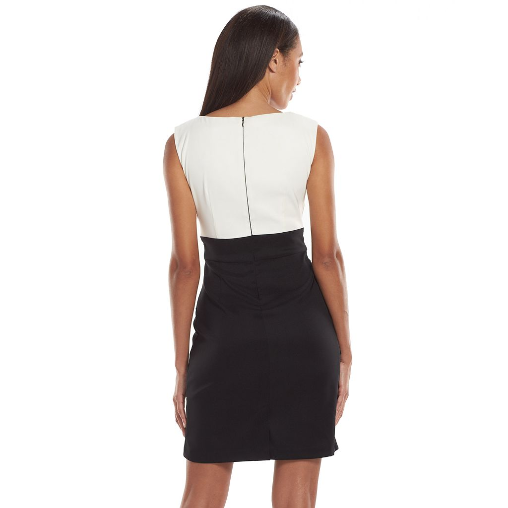 Connected Apparel Embellished Colorblock Sheath Dress