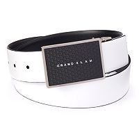 Men's Grand Slam Reversible Dimpled Plaque-Buckle Belt