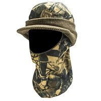 QuietWear Camo Knit Fleece Visor With Drop-Down Mask - Men
