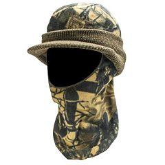 QuietWear Camo Knit Fleece Visor With Drop-Down Mask - Men