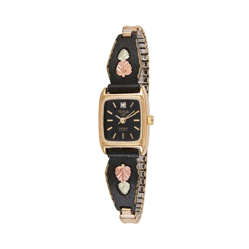 Black Hills Gold & Stainless Steel Five Tone Diamond Accent Expansion Watch