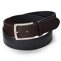 Big & Tall Striped Embossed Leather Belt