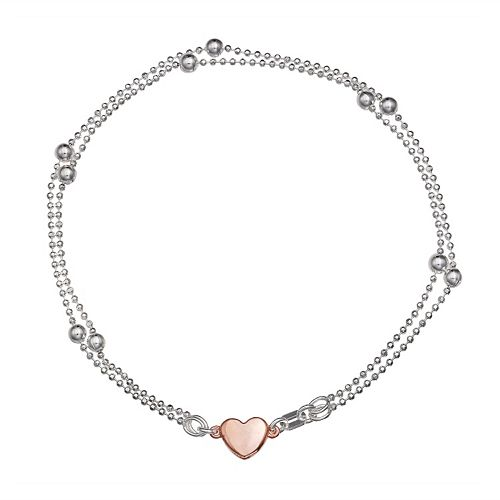 Sterling Silver Heart Bead Chain Bracelet