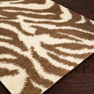 Infinity Home Madison Safari Zebra Print Shag Rug
