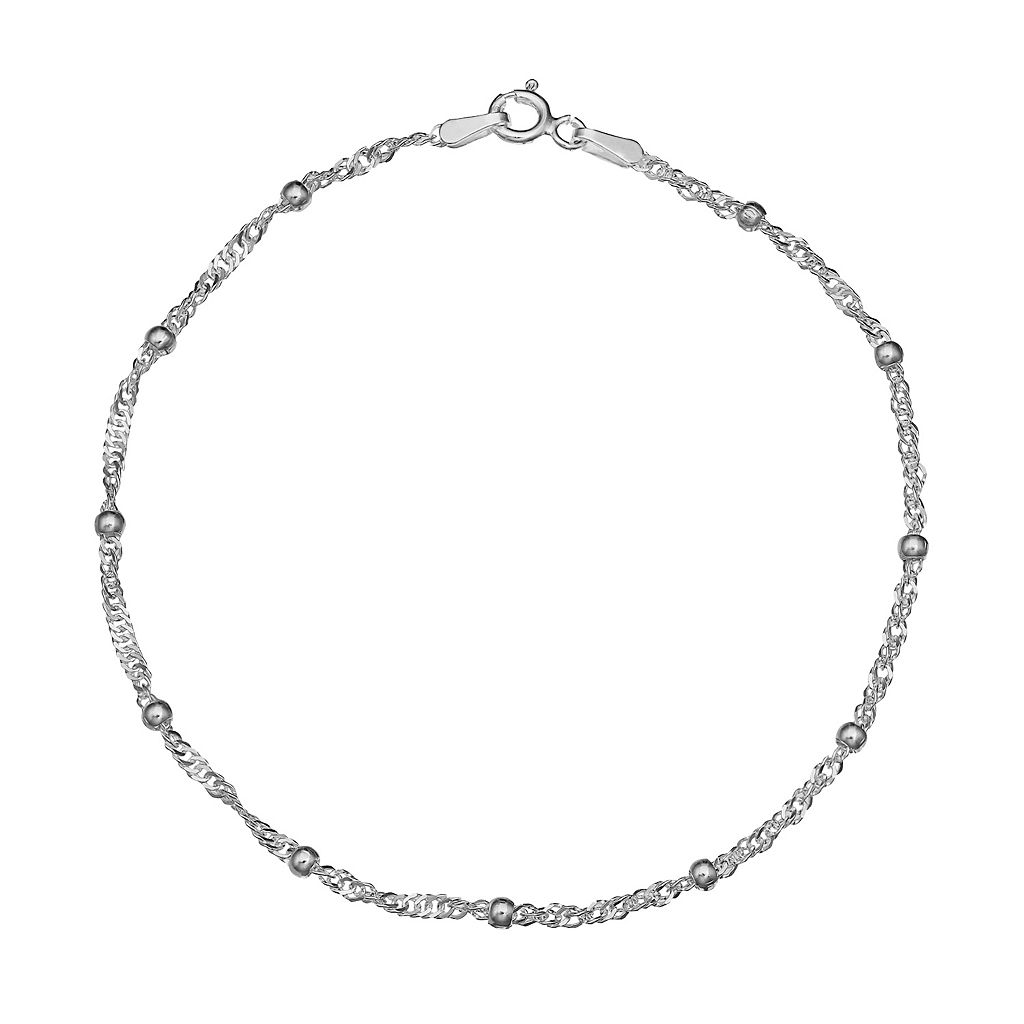 Sterling Silver Beaded Singapore Chain Bracelet