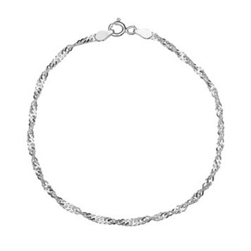 Sterling Silver Singapore Chain Bracelet