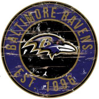 "Baltimore Ravens Distressed 24"" x 24"" Round Wall Art"
