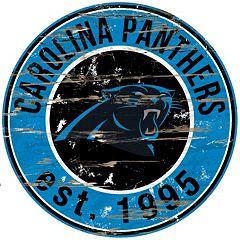 Carolina Panthers Distressed 24' x 24' Round Wall Art