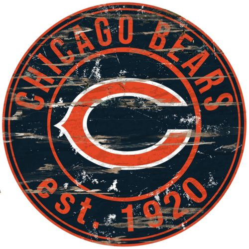 """Chicago Bears Distressed 24"""" x 24"""" Round Wall Art"""