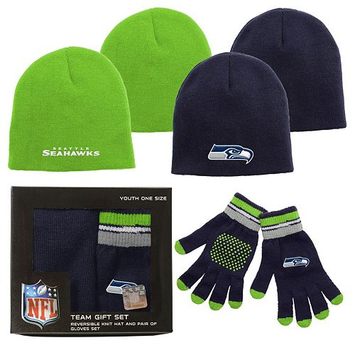 Youth Seattle Seahawks Reversible Hat & Glove Set  for sale
