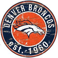 Denver Broncos Distressed 24' x 24' Round Wall Art