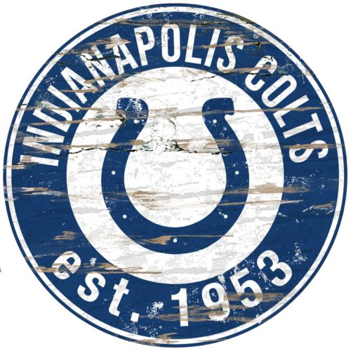 """Indianapolis Colts Distressed 24"""" x 24"""" Round Wall Art"""