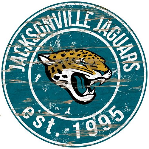 "Jacksonville Jaguars Distressed 24"" x 24"" Round Wall Art"