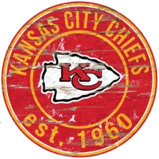 "Kansas City Chiefs Distressed 24"" x 24"" Round Wall Art"