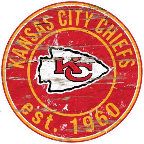 Kansas City Chiefs Distressed 24 x 24 Round Wall Art