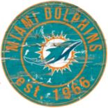 """Miami Dolphins Distressed 24"""" x 24"""" Round Wall Art"""