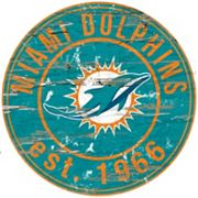 Miami Dolphins Distressed 24' x 24' Round Wall Art