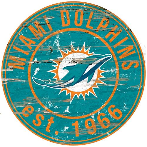 "Miami Dolphins Distressed 24"" x 24"" Round Wall Art"