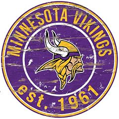 Minnesota Vikings Distressed 24' x 24' Round Wall Art