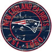 New England Patriots Distressed 24' x 24' Round Wall Art