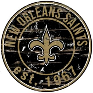 """New Orleans Saints Distressed 24"""" x 24"""" Round Wall Art"""
