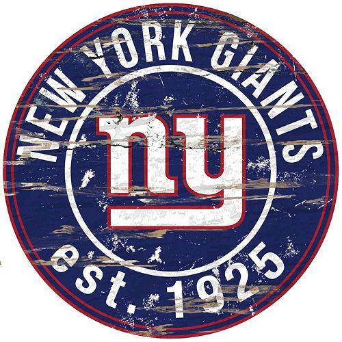 "New York Giants Distressed 24"" x 24"" Round Wall Art"