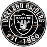 "Oakland Raiders Distressed 24"" x 24"" Round Wall Art"