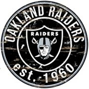 Oakland Raiders Distressed 24' x 24' Round Wall Art