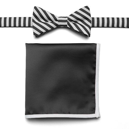 bb41f7cd699a Van Heusen Glow-In-The-Dark Striped Pre-Tied Bow Tie & Pocket Square Set -  Men